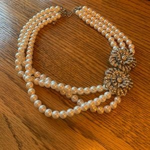 Pearl Double Strand Necklace with Crystal Detail
